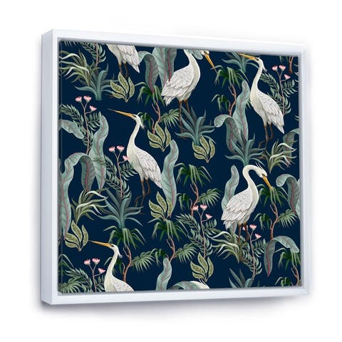 Designart 'Chinoiserie With Birds and Peonies VII' Traditional Framed Canvas Wall Art Print