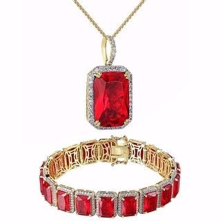 Men Hip Hop Red Ruby CZ Pendant Bracelet Combo Set 14k Gold Tone Necklace