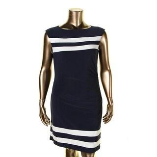 Lauren Ralph Lauren Womens Petites Wear to Work Dress Striped Ruched