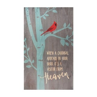 "Dallas Pridgen Jewelry Red Cardinal in Tree Wood Plaque Wall Art Print, 24"" x 14"" - Gray - 24 in. x 14 in."