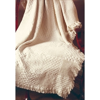 """Textured Block Fringed Throw Blanket - By Manual Woodworkers Weavers - 46"""" X 60"""""""