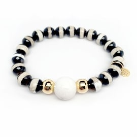 Black & White Agate 'Pride' stretch bracelet 14k Over Sterling Silver