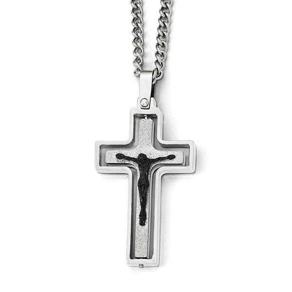 Chisel Stainless Steel Polished/Laser Cut with Black IP-Plated Jesus Necklace - 24 in