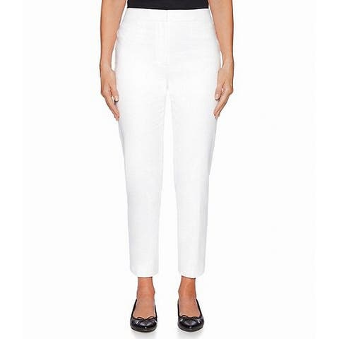 ruby Rd. Womens Dress Pants Optic White Size 20W Plus Cropped Stretch