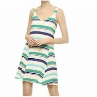 Sanctuary Green Womens Size Small S Striped V-Neck A-Line Dress