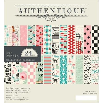 """Authentique Double-Sided Cardstock Pad 6""""X6"""" 24/Pkg-Fabulous, 12 Designs/2 Each"""