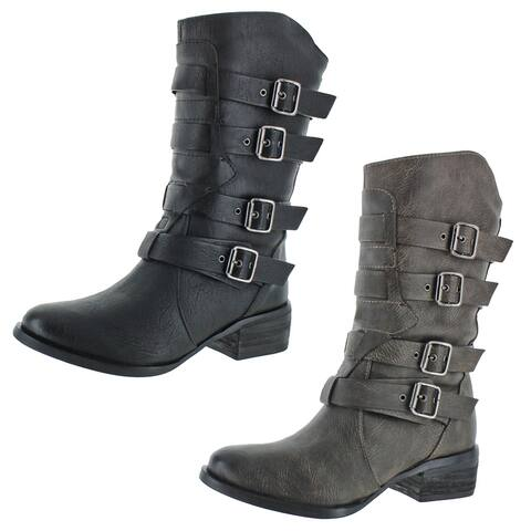 Not Rated Women's On Fleek Faux Leather Buckle Block Heel Mid-Calf Boot