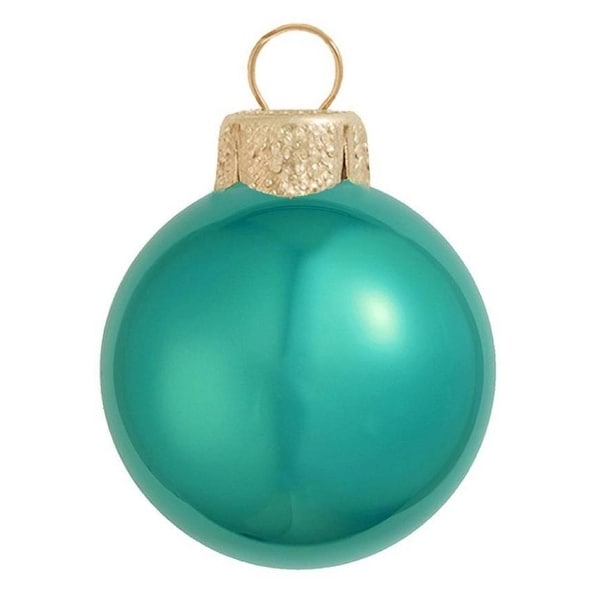 "40ct Pearl Teal Green Glass Ball Christmas Ornaments 1.5"" (40mm)"