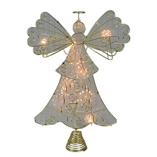 """13"""" Lighted Gold and White with Reflector Angel Christmas Tree Topper - Clear Lights"""