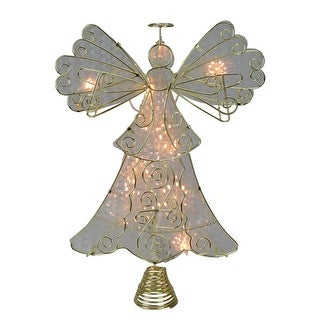 """13"""" Lighted Gold with Reflector Angel Christmas Tree Topper - Clear Lights"""