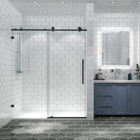 """OSBP05P2-B 60"""" x 70"""" Frameless Double Sliding Shower Door, Clear Tempered Glass, Black Nickel - 56 to 60 in. x 74 in"""