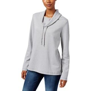 Karen Scott Sports Womens Sweatshirt Cowl Neck Heathered