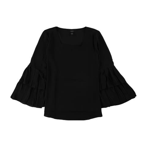 Alfani Womens Pleated Knit Blouse, black, X-Small