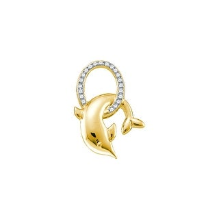 Dolphin Pendant 10K White-gold With Diamonds 0.08 Ctw By MidwestJewellery - White