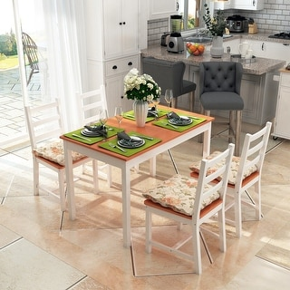 Link to Five Piece Solid Pine Wood Table and High Back Chair Dining Set Similar Items in Dining Room & Bar Furniture