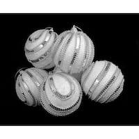 "6 December Diamonds White Sequined Shatterproof Christmas Ball Ornaments 3.75"""