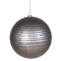 "Pewter Glitter Striped Shatterproof Christmas Ball Ornament 4"" (100mm)"