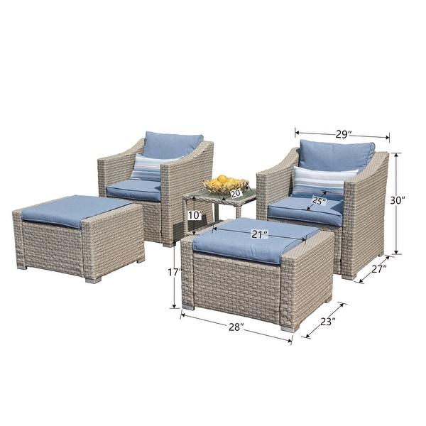 COSIEST Wicker 5-piece Outdoor Lounge Set w/ Cushions