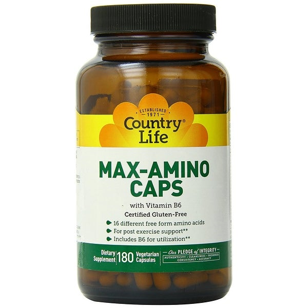 Country Life Max-Amino Caps - 180 Vegetarian Capsules - 16 different free form amino acids - Post Exercise Support