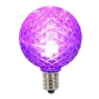 Club Pack of 25 LED G40 Purple Faceted Replacement Christmas Light Bulbs