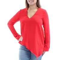RACHEL ROY Womens Red Asymmetrical Long Sleeve V Neck Wear To Work Top  Size: XL