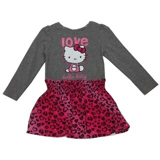 "Hello Kitty Girls Fuchsia Grey Leopard Spot ""Love"" Print Dress 8-12"