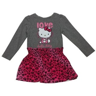 "Hello Kitty Little Girls Fuchsia Grey Leopard Spot ""Love"" Print Dress 4-6"