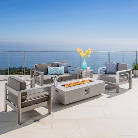 Cape Coral Outdoor 4-seater Chat Set with Fire Pit by Christopher Knight Home