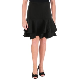 Lauren Ralph Lauren Womens Petites Flounce Skirt Tiered Knee-Length