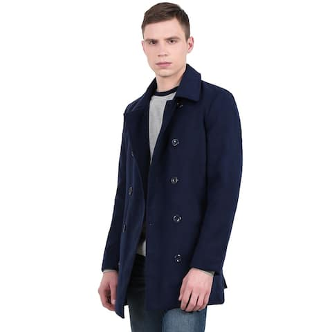 Unique Bargains Men's Long Sleeve Turn Down Collar Double-Breasted Casual Worsted Coat - Navy Blue