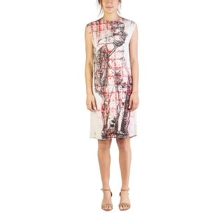 "Miu Miu Women's Viscose ""Michelangelo's David"" Sleeveless Dress White - 6"