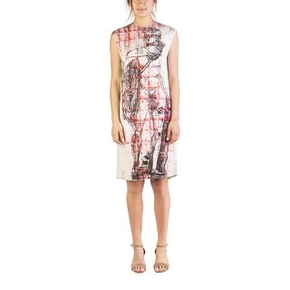 "Miu Miu Women's Viscose ""Michelangelo's David"" Sleeveless Dress White - 6"
