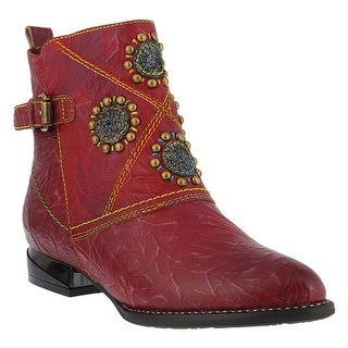 L'Artiste by Spring Step Women's Flash Bootie Red Crushed Leather
