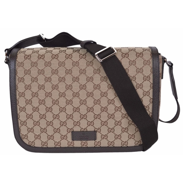 f638b243ba00 Gucci 449171 9886 GG Guccissima Canvas Large Crossbody Messenger Bag Purse  - Beige/Brown