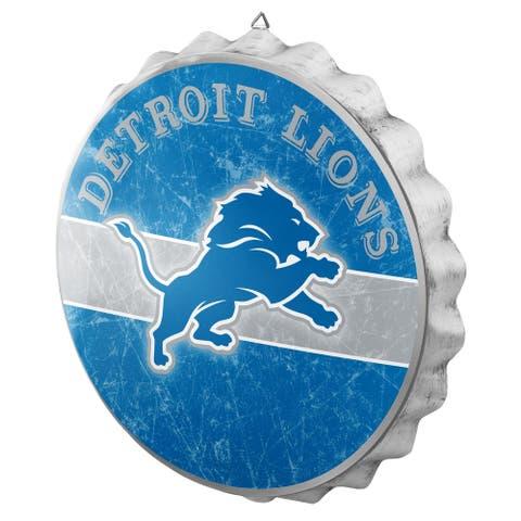 FOCO NFL Distressed Metal Bottle Cap Sign, Detroit Lions - Multi-Color
