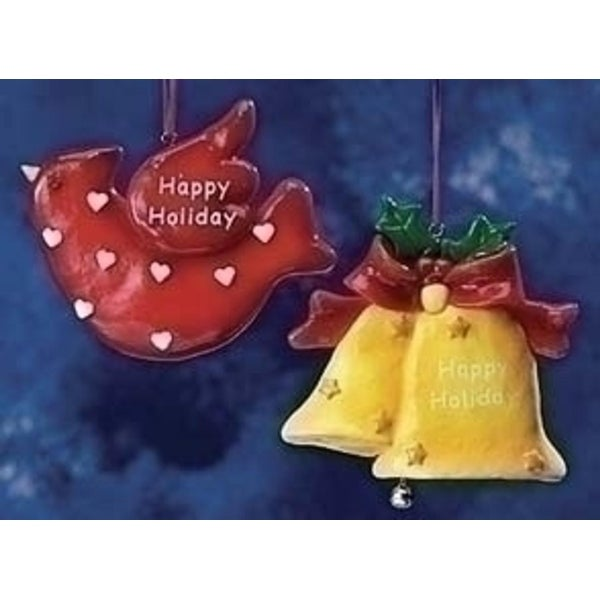 "Club Pack of 24 ""Happy Holiday"" Bell & Cardinal Christmas Ornaments #20994"