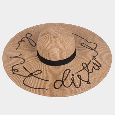 Amtal Women Do Not Disturb Sequin Design Large Floppy Straw Paper Summer Beach Hat