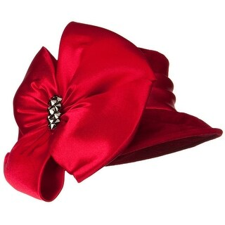 Big Bow Velvet Hat - Red