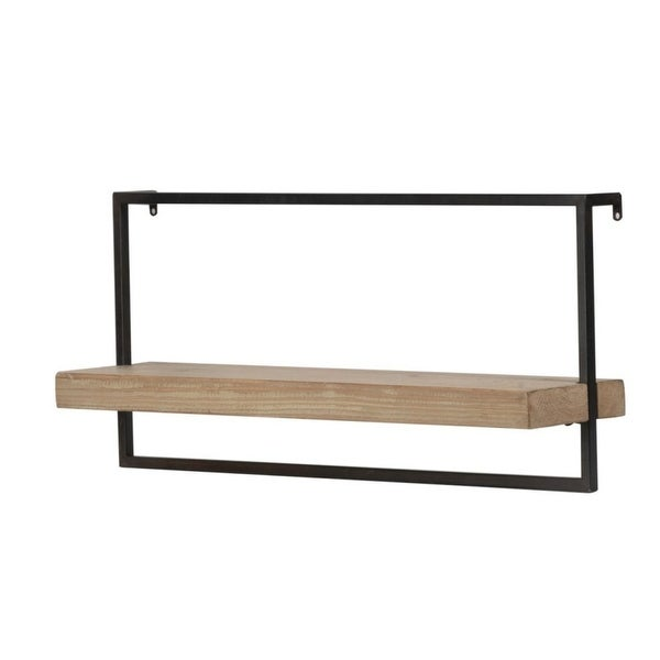 """26.5"""" Brown and Black Contemporary Style Wall Shelf - N/A"""