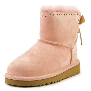 Ugg Australia Dixi Flora Youth Round Toe Suede Pink Winter Boot