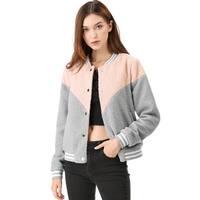 Women's Button Down Color Block Fleece Bomber Jacket - Pink