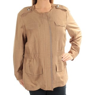 TOMMY HILFIGER $149 Womens New 1127 Brown Zip Up Casual Jacket 14W Plus B+B