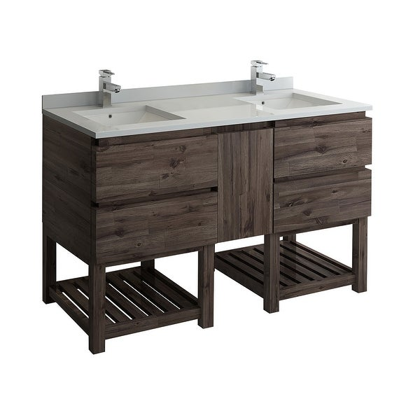 """Fresca FCB31-241224-FS-CWH-U Formosa 60"""" Free Standing Double Basin Vanity Set with Wood Cabinet and Quartz Vanity Top"""