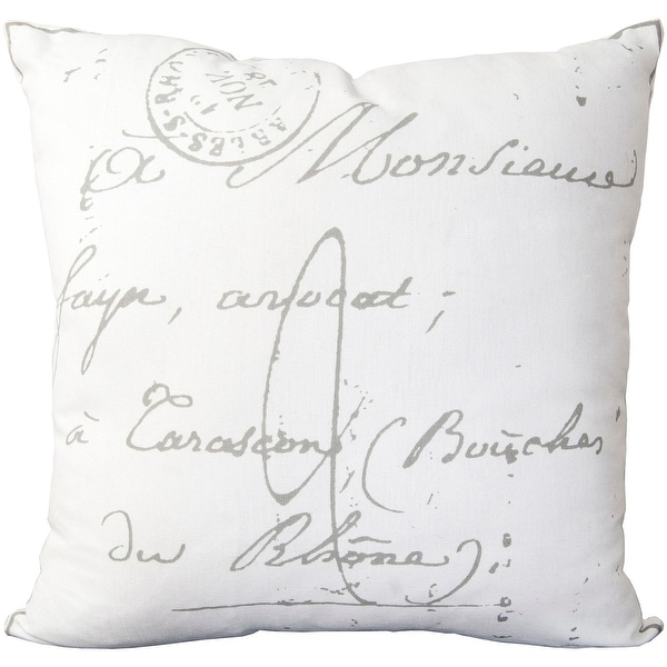 """22"""" Cloud Gray and Ghost White Decorative Throw Pillow – Down Filler"""