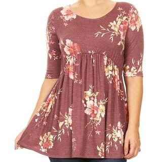 Women Plus Size Short Sleeve Rose Pattern Print Tunic Knit Top Tee Mauve B492 FLO