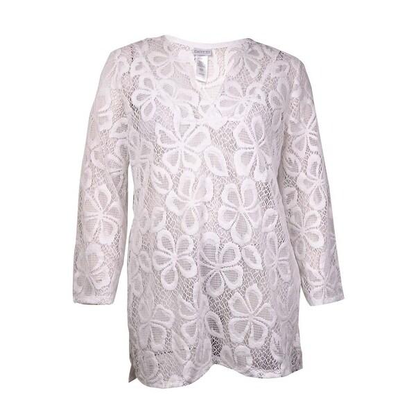 Dotti Women/'s Floral Lace V-Neck Tunic Swim Cover L, White