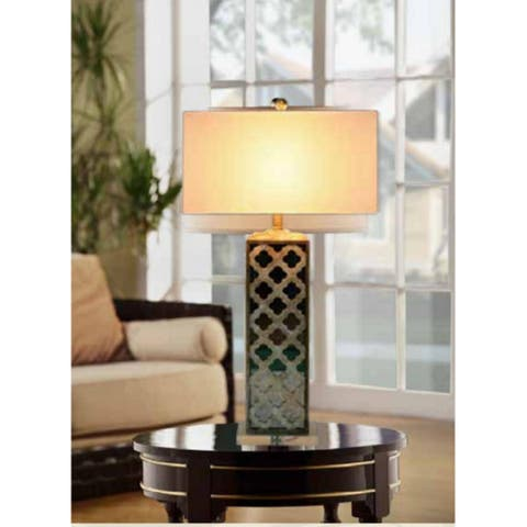 Mirrored Capiz Table Lamp w/ Shade - 34