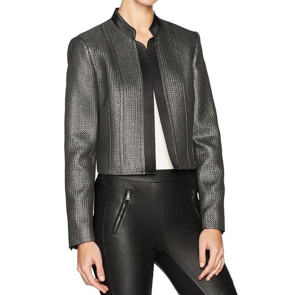 Nine West Silver Women's Size 14 Metallic Open Front Jacket
