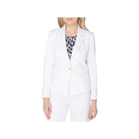Tahari ASL Womens One-Button Blazer Peak-Collar Cotton