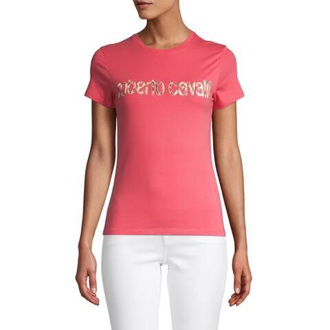 Roberto Cavalli Women's Cotton Animal Print Logo T-Shirt Pink